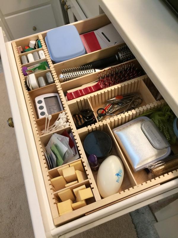 maple makeup drawer organizer